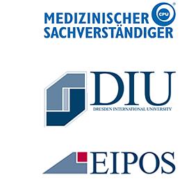 Medizinischer Sachverständiger cpu: EIPOS; Dresden International University; CPU-Logo